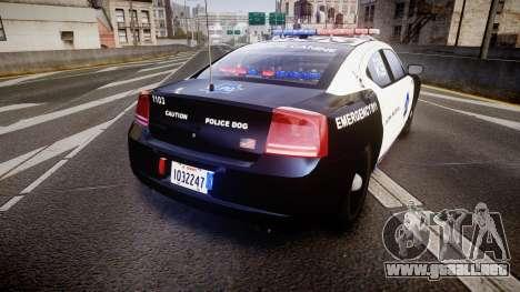Dodge Charger 2010 LCPD K9 [ELS] para GTA 4 Vista posterior izquierda