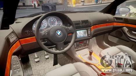 BMW M5 E39 stock para GTA 4 vista interior
