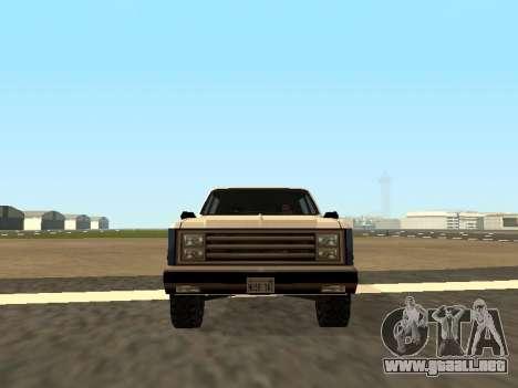 Rancher Four Door para GTA San Andreas vista posterior izquierda