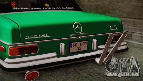 Mercedes-Benz 300 SEL DRY Garage para la visión correcta GTA San Andreas