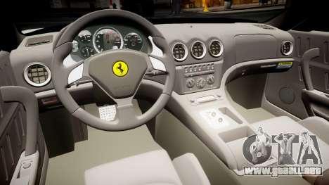 Ferrari 575M Maranello 2002 para GTA 4 vista hacia atrás