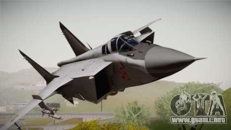 MIG 31 Estovakian Air Force para GTA San Andreas vista hacia atrás