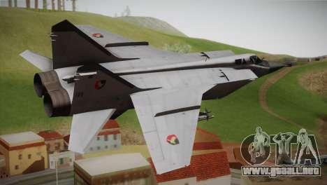 MIG 31 Estovakian Air Force para GTA San Andreas left