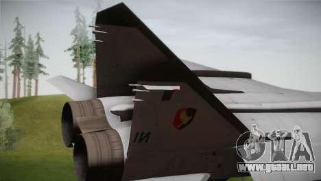 MIG 31 Estovakian Air Force para GTA San Andreas vista posterior izquierda