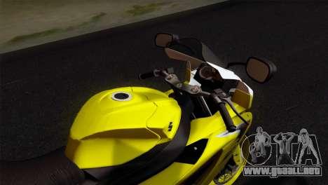 Suzuki GSX-R 2015 Yellow & White para la visión correcta GTA San Andreas