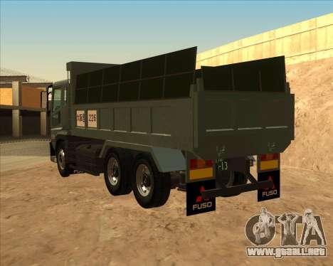 Mitsubishi Fuso Super Great Dump Truck para GTA San Andreas left