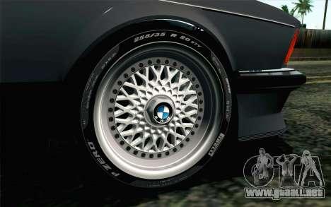 BMW M635CSI E24 1986 V1.0 EU Plate para GTA San Andreas vista posterior izquierda