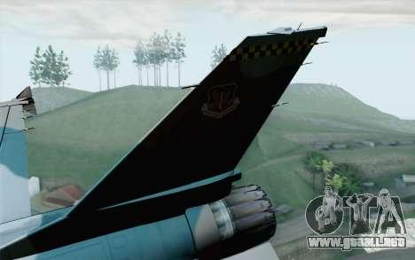 F-16C Fighting Falcon Aggressor BlueGrey para GTA San Andreas vista posterior izquierda