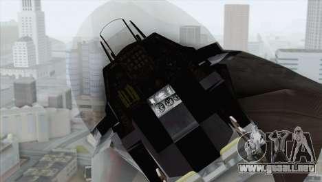 F-16 Scarface Squadron para GTA San Andreas vista hacia atrás