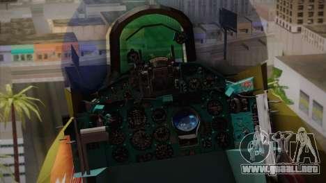 MIG 21 Russian Camo Force para GTA San Andreas vista hacia atrás
