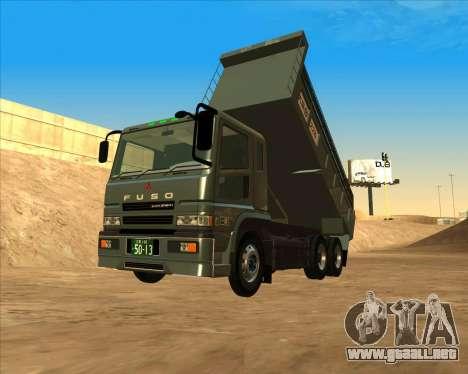 Mitsubishi Fuso Super Great Dump Truck para GTA San Andreas vista posterior izquierda