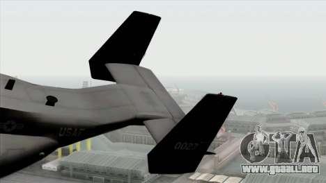 MV-22 Osprey USAF para GTA San Andreas vista posterior izquierda