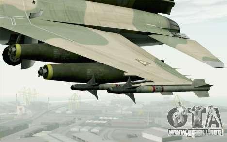 F-16 Fighter-Bomber Green-Brown Camo para la visión correcta GTA San Andreas