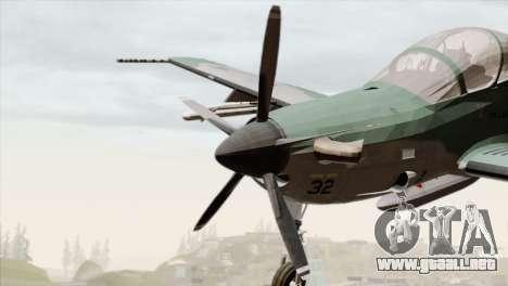 Embraer A-29B Super Tucano FAB para GTA San Andreas vista hacia atrás