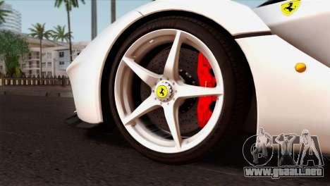 Ferrari LaFerrari 2015 para GTA San Andreas vista posterior izquierda