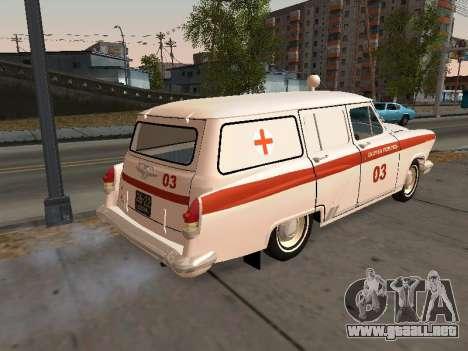 GAS 22 de ambulancia para GTA San Andreas vista posterior izquierda