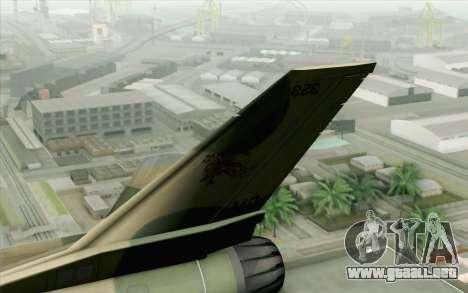 F-16 Fighter-Bomber Green-Brown Camo para GTA San Andreas vista posterior izquierda