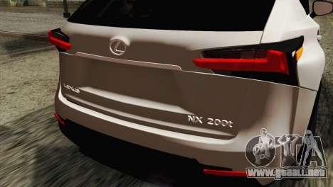 Lexus NX 200T para GTA San Andreas vista hacia atrás