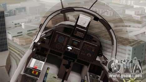 Embraer A-29B Super Tucano Low Visibility para GTA San Andreas vista hacia atrás