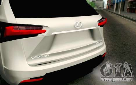 Lexus NX 200T v2 para GTA San Andreas vista hacia atrás