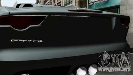 Jaguar F-Type para GTA San Andreas vista hacia atrás