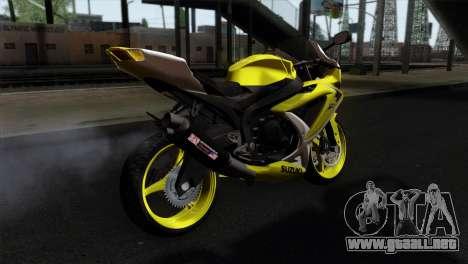 Suzuki GSX-R 2015 Yellow & White para GTA San Andreas left