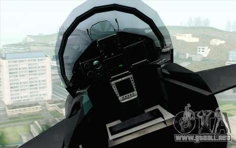 EuroFighter Typhoon 2000 Black Hawk para GTA San Andreas vista hacia atrás