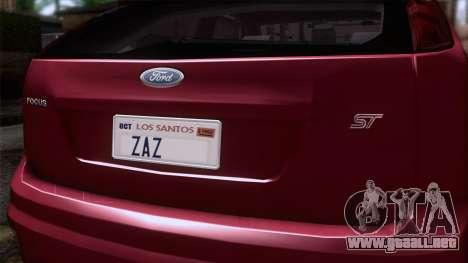 Ford Focus ST Tunable para GTA San Andreas vista hacia atrás