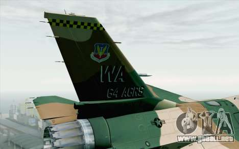 F-16C Fighting Falcon Aggressor 272 para GTA San Andreas vista posterior izquierda