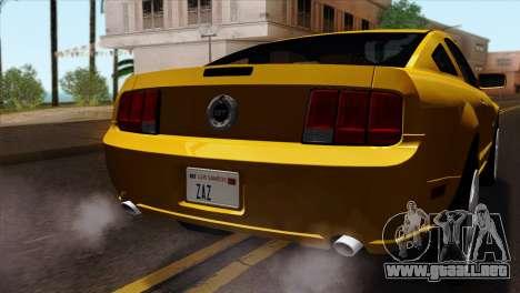 Ford Mustang GT Wheels 1 para GTA San Andreas vista hacia atrás