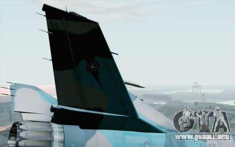 F-16C Fighting Falcon NSAWC Blue para GTA San Andreas vista posterior izquierda