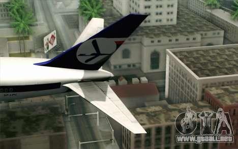 Boeing 767-300 PLL LOT para GTA San Andreas vista posterior izquierda