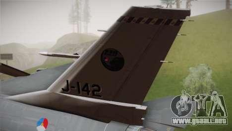 F-16 Fighting Falcon RNLAF Solo Display J-142 para GTA San Andreas vista posterior izquierda