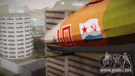 MIG 21 Russian Camo Force para la visión correcta GTA San Andreas