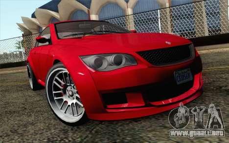 GTA 5 Ubermacht Sentinel Coupe IVF para GTA San Andreas vista hacia atrás