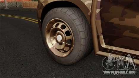 Dacia Duster Army Skin 4 para GTA San Andreas vista posterior izquierda