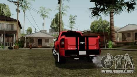 Chevrolet Silverado Tuning para GTA San Andreas vista posterior izquierda