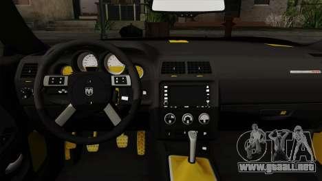 Dodge Challenger Yellow Jacket para la visión correcta GTA San Andreas