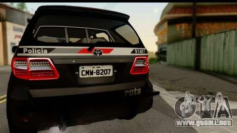 Toyota Hilux SW4 2009 ROTA para la visión correcta GTA San Andreas
