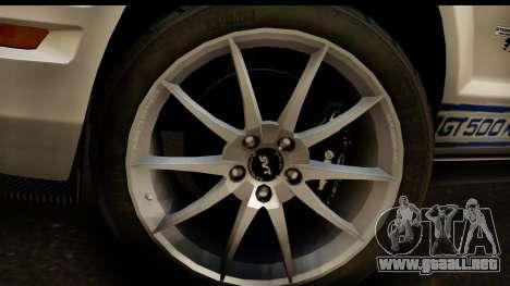 Ford Mustang Shelby GT500KR para la visión correcta GTA San Andreas