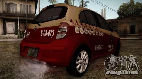 Nissan Micra Taxi DF 2012 para GTA San Andreas left