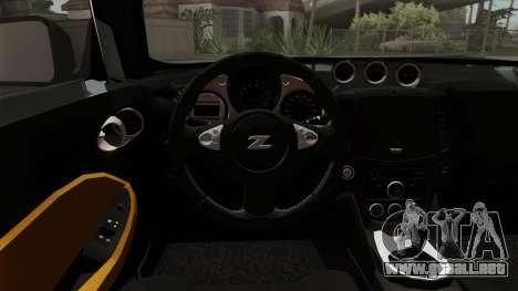 Nissan 370Z Nismo para GTA San Andreas vista hacia atrás