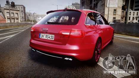 Audi S4 Avant 2013 para GTA 4 Vista posterior izquierda