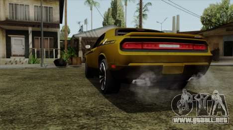 Dodge Challenger Yellow Jacket para GTA San Andreas vista posterior izquierda