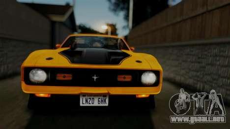 Ford Mustang Mach 1 429 Cobra Jet 1971 HQLM para visión interna GTA San Andreas