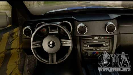 Ford Mustang Shelby GT500KR para GTA San Andreas vista hacia atrás