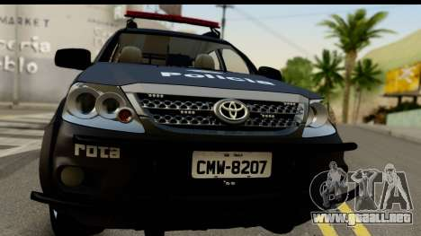 Toyota Hilux SW4 2009 ROTA para GTA San Andreas vista posterior izquierda