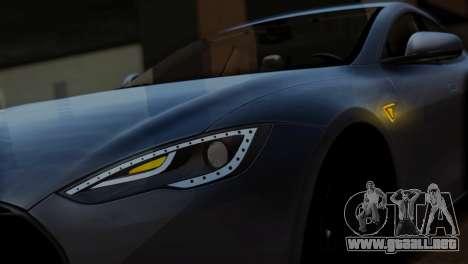 Tesla Model S 2014 para GTA San Andreas vista hacia atrás
