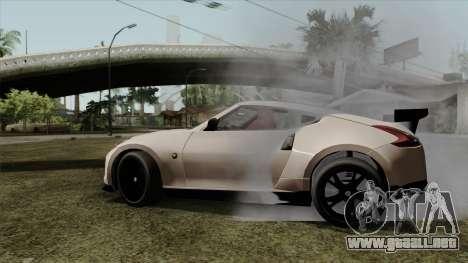 Nissan 370Z Nismo para GTA San Andreas vista posterior izquierda
