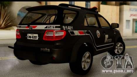 Toyota Hilux SW4 2009 ROTA para GTA San Andreas left